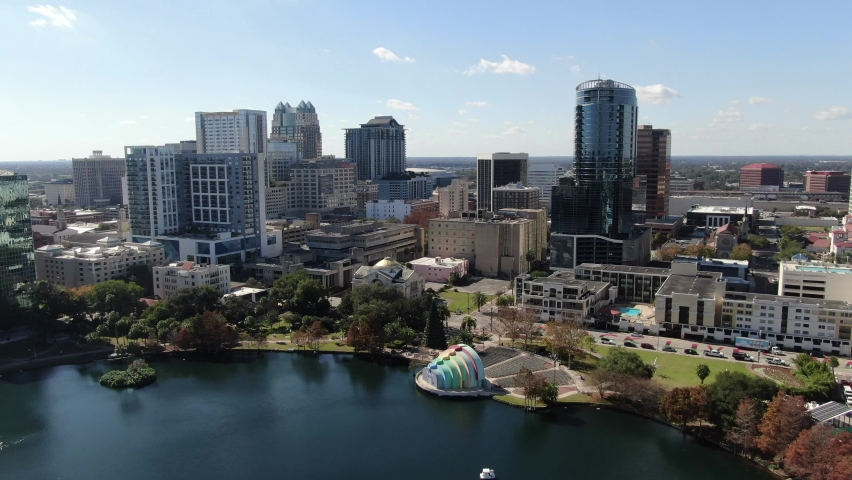 Orlando, Florida, USA - July 15, 2020 : Downtown Orlando; the historic core and central business district of Orlando, Florida. Shot during the COVID Pandemic in July, 2020.