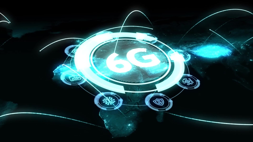 The concept of 6G network, high-speed mobile Internet, new generation networks. Business, modern technology, internet and networking concept | Shutterstock HD Video #1065891232