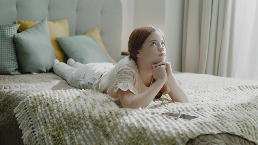 Pensive Pretty Girl Open Game on Smartphone | Shutterstock HD Video #1065893368