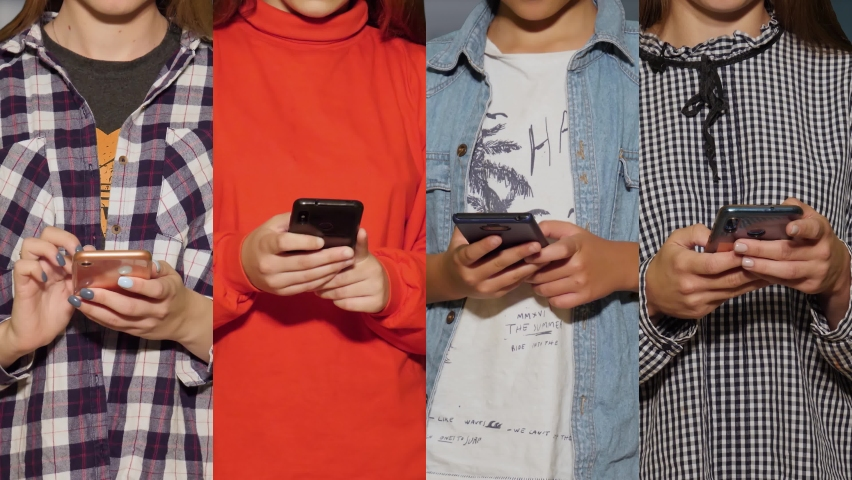 Collage of four unrecognizable young people using mobile phones. Social network concept among youth | Shutterstock HD Video #1065894472