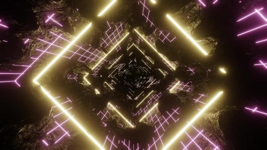 Cyberpunk grid abstract tunnel animation | Shutterstock HD Video #1065897244