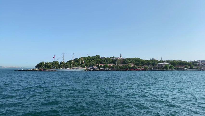Footage of Holden Horn part of Bosphorus strait in Istanbul. Topkapi Palace is in the view. Beautiful scene. It is a sunny summer day. Camera moves forward. | Shutterstock HD Video #1065899272