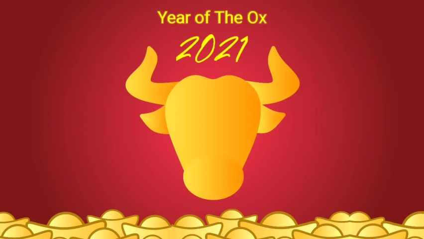 Happy Chinese new year 2021 celebrate animation. Gold paper cut ox character, gold coins, and fireworks. Fit for greeting card or social media post. Chinese translation: Happy New Year | Shutterstock HD Video #1065900739