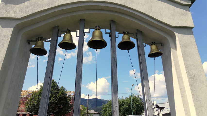 Beautiful flight on the bells, bell towers of the Christian church. | Shutterstock HD Video #1065901816