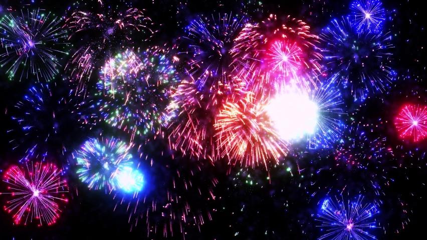4K Real Fireworks Explosion on Smoke Foggy black Motion Background loop Sky on Fireworks Explosion. Festival Show, Wedding, Confetti, Happy Birthday, Christmas, Diwali, Christmas, Celebration | Shutterstock HD Video #1065902533