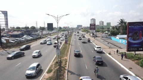 Accra, Greater Accra Region, Ghana, January 15, 2021. Busy streets in Accra Ghana