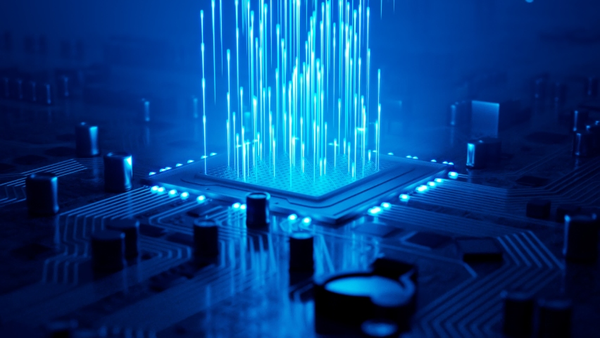 Impressive animation shows data flow in a motherboard in pc. Highlighted processor among circuits and electronic components.CPU. Hardware. Concept of digital communication, cloud computing, processing | Shutterstock HD Video #1065927340