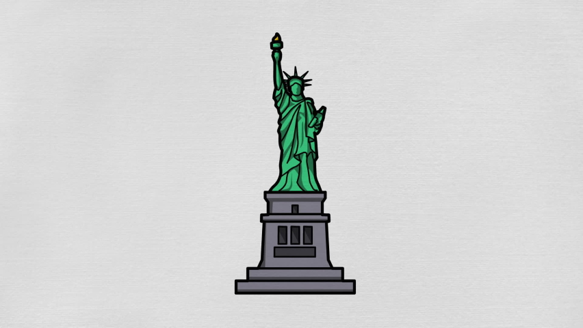 Hand drew animation of the statue of liberty on display with white background   Shutterstock HD Video #1065929395