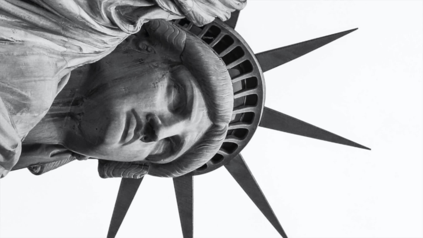 The Statue of Liberty. Slow zoom out. Black and white   Shutterstock HD Video #1065939430