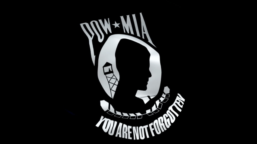 National League of POW MIA Families flag video. 3d United States American Flag Slow Motion video. US American National League of Families of American Prisoners and Missing -Washington, 2 May 2019