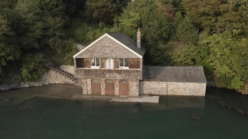 Boat House River Dart Devon Aerial | Shutterstock HD Video #1065949345