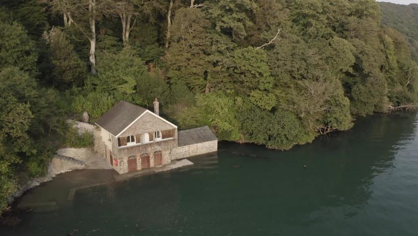 Boat House River Dart Devon Aerial | Shutterstock HD Video #1065949348