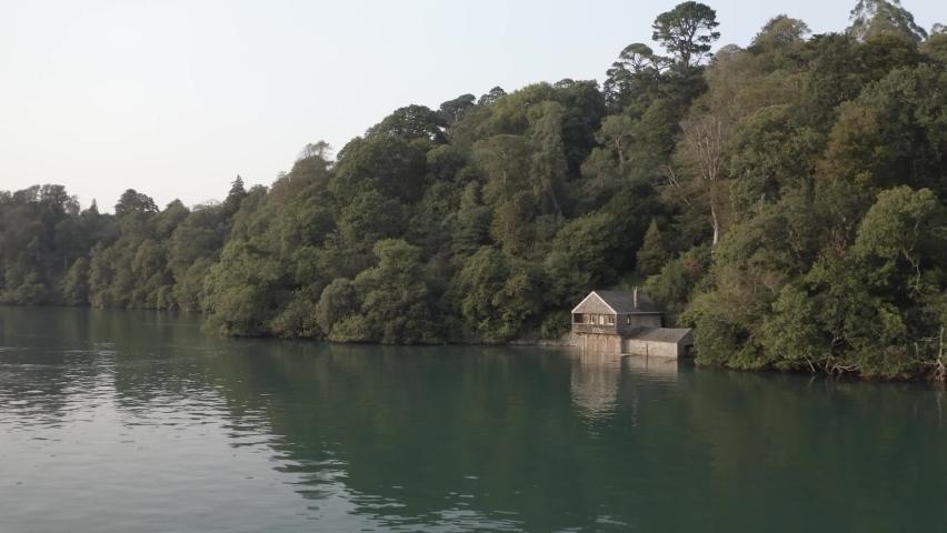 Boat House River Dart Devon Aerial | Shutterstock HD Video #1065949351
