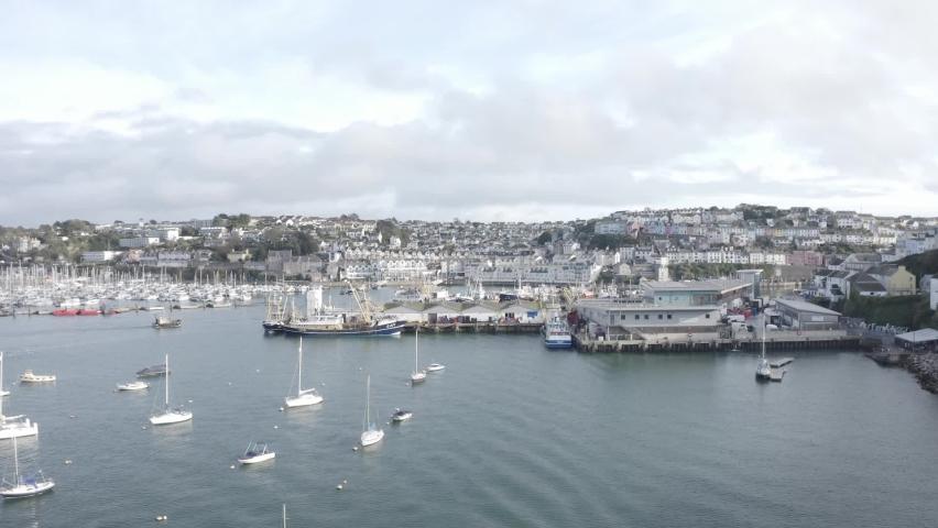 Trawler Returns to Brixham Harbour Aerial | Shutterstock HD Video #1065949474