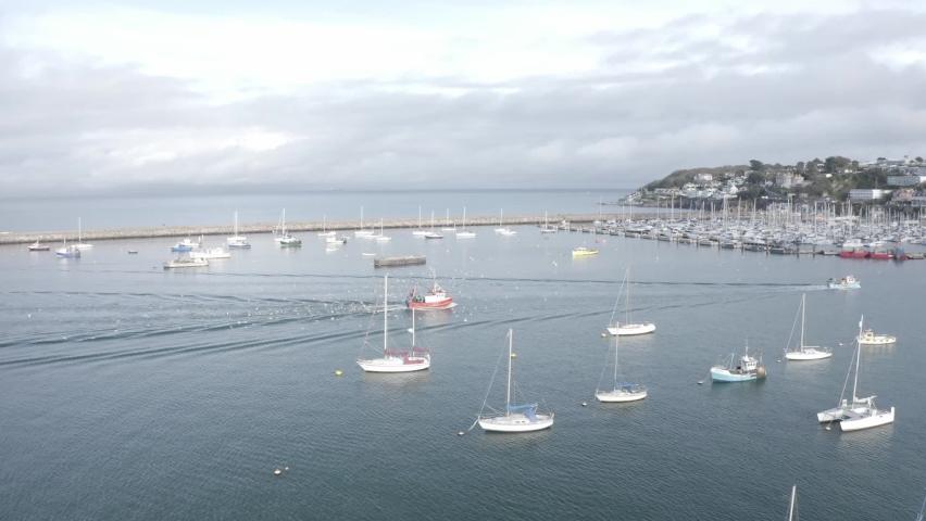 Trawler Returns to Brixham Harbour Aerial | Shutterstock HD Video #1065949477