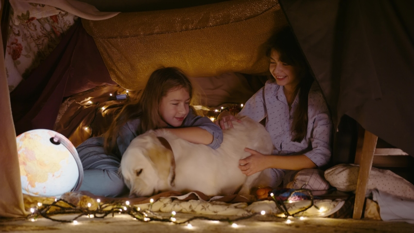 Children play with dog in tent made of blankets and pillows at home. Two little sisters girls spend time in secret place with pet | Shutterstock HD Video #1065952000