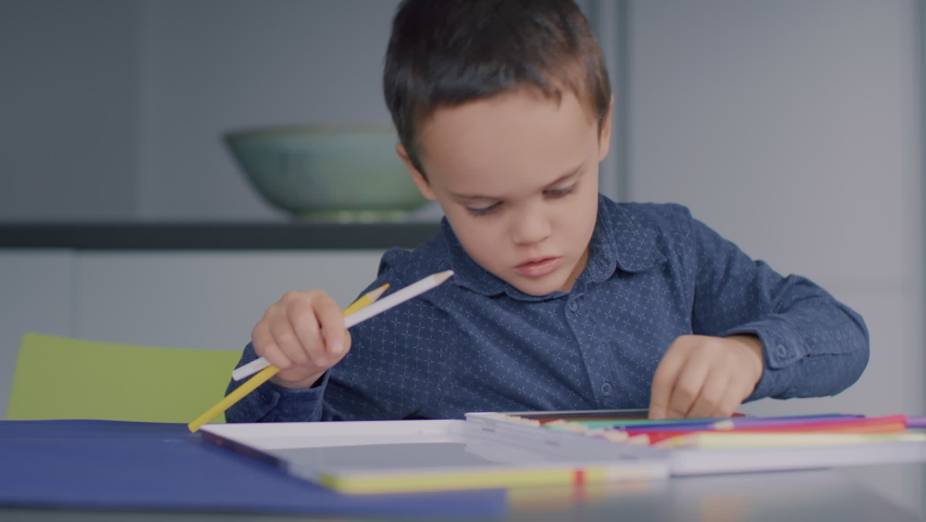 Young kid arranges his coloured pencils and organises them in their protective hard case. | Shutterstock HD Video #1065953674