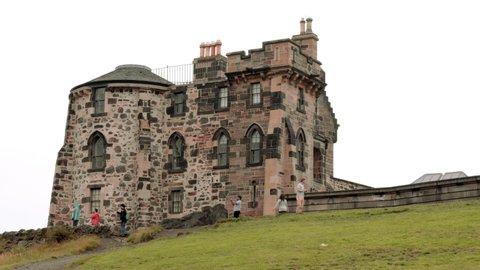 Edinburgh , Scotland , United Kingdom (UK) - 07 28 2020: Calton Hill, Edinburgh, Scotland, United Kingdom, 27 August 2019. Tourist walking around the Old observatory House