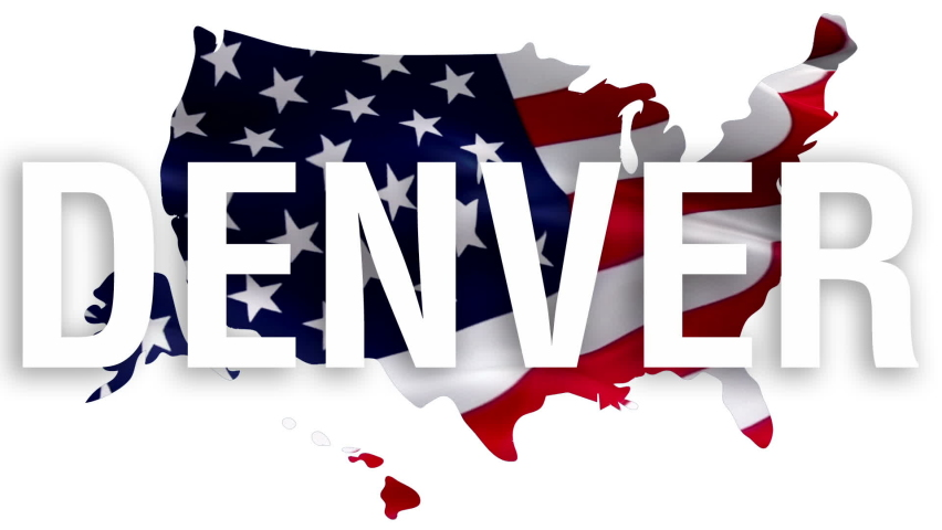 Denver city text with USA map flag video waving in wind. Waving Flag United States Of America. USA flag for Independence Day, 4th of july US American Flag Waving 1080p Full HD footage. Denver USA    Shutterstock HD Video #1066001542