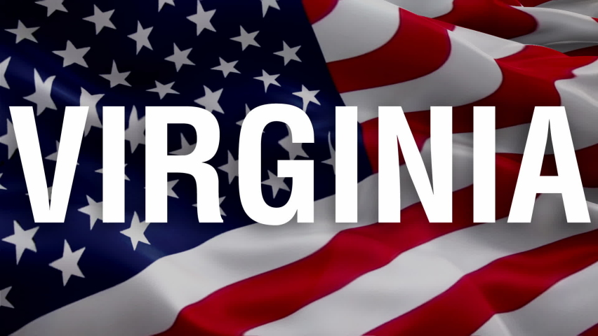 Virginia text American flag video. 3d United States American Flag Slow Motion video. US American Flags Close Up. US Virginia Flag Motion Loop HD resolution USA Background. USA flag Closeup video for M   Shutterstock HD Video #1066001545
