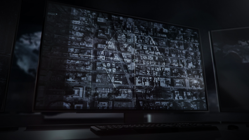 Monitors. Initialization of the location tracking process. New york city. Gaining access to the unprotected satellite footage. The suspect was identified in the skyscraper. Computer User Interface.   Shutterstock HD Video #1066012954