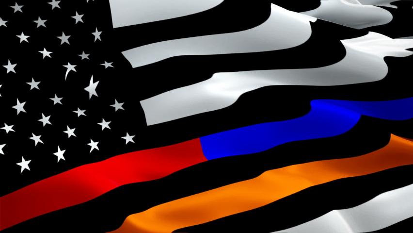 First Responder waving flag. National 3d American Emergency Police, Fire Fighters, Search and Rescue responder memorial dispatchers flag waving. Sign of First Responder seamless loop animation 911   Shutterstock HD Video #1066026628