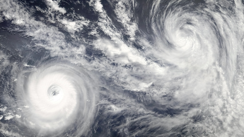 Double hurricane storm, tornado top view. Elements of this video furnished by NASA. Animation of giant hurricane seen from outer space Royalty-Free Stock Footage #1066026880