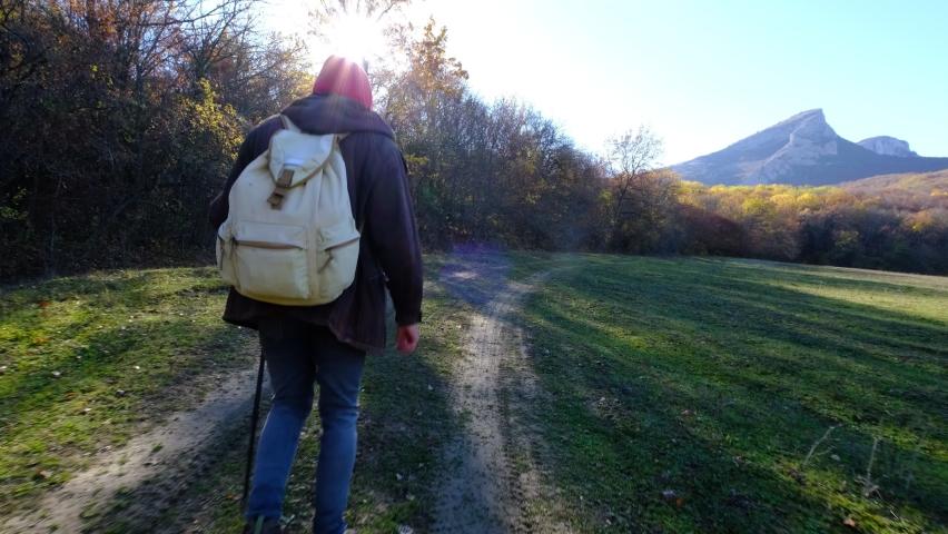 Outdoor Activities Travel Concept Man in Nature. | Shutterstock HD Video #1066031935