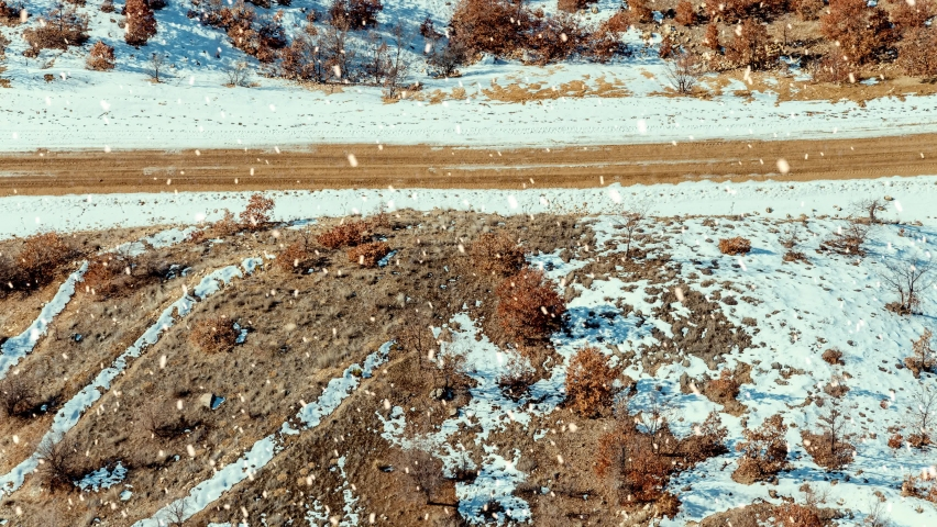 Road image shot from a high point while snowing. | Shutterstock HD Video #1066032628