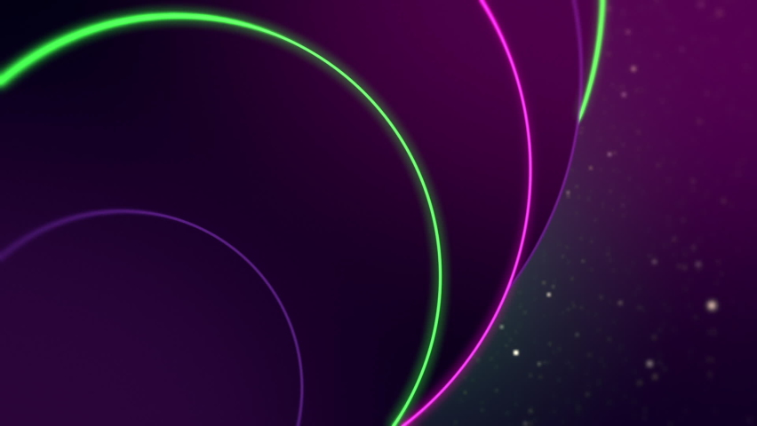 Tracking left close up of neon green and violet circles of different sizes with space background. | Shutterstock HD Video #1066032865