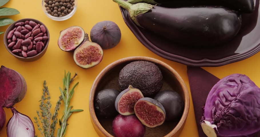 Eggplant figs green beans beets onions herbs | Shutterstock HD Video #1066033819