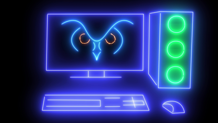 Computer technology concept. Animated neon computer with a picture on a dark background. Animated computer. Looped animation. Nonstop.Computer.PC.  | Shutterstock HD Video #1066035931