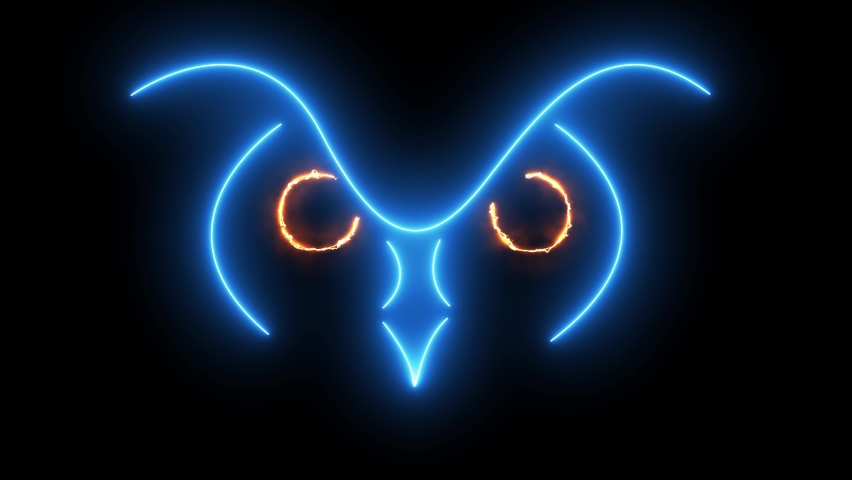 Animated silhouette of an owl on a black background. Owl. Animals concept. Owl animation.Looping animation.Nonstop.Neon owl | Shutterstock HD Video #1066036609