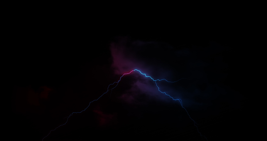 Red and blue lightning bolts of electrical current flashing across dark sky. energy, nature, electricity, light and movement concept, digitally generated video. | Shutterstock HD Video #1066053025