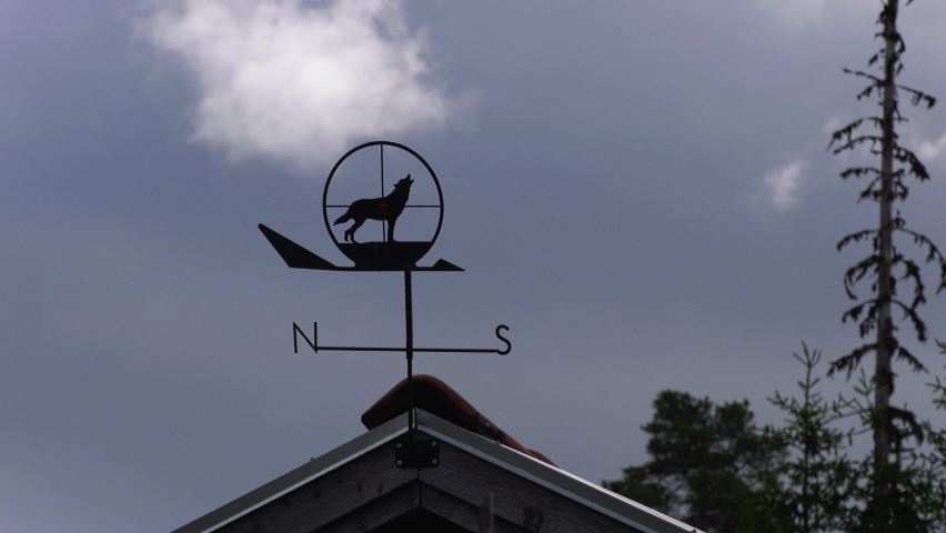 Decoration with wolf symbol on a small cottage in the woods | Shutterstock HD Video #1066053412