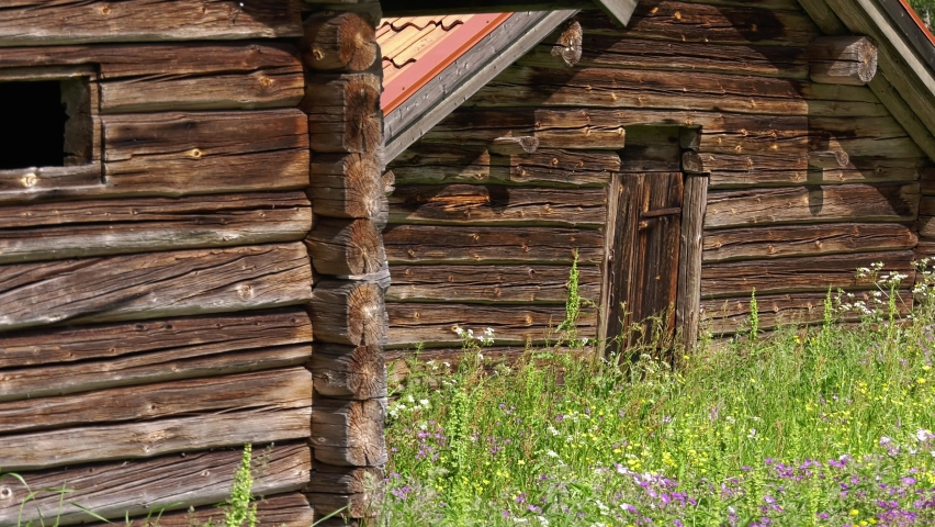 Old wooden barns with colorful flowers slowly moving in the summer breeze. Beautiful farmland scenery from Sweden | Shutterstock HD Video #1066053454