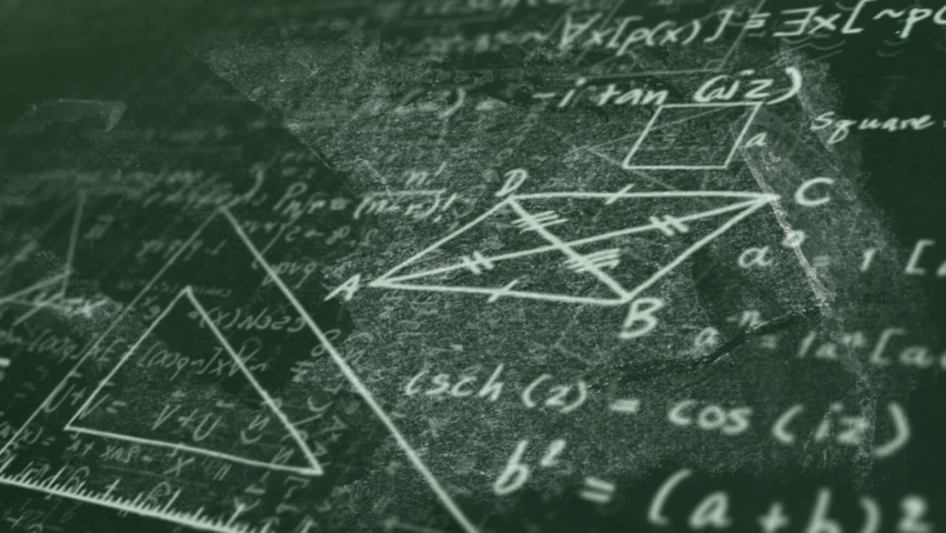 Digital animation of mathematical equations and diagrams floating against green background. school and education concept | Shutterstock HD Video #1066053628