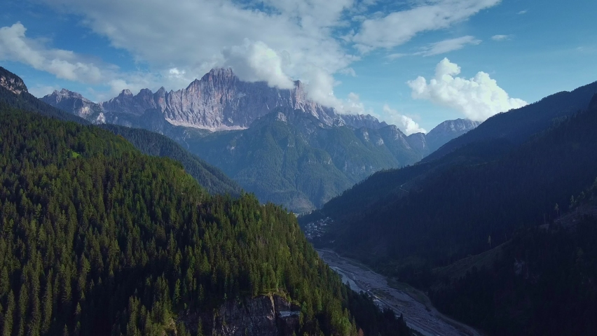 Awesome aerial view of Dolomites in Italian Alps. Beautiful landscapes of Italy mountains. | Shutterstock HD Video #1066053715