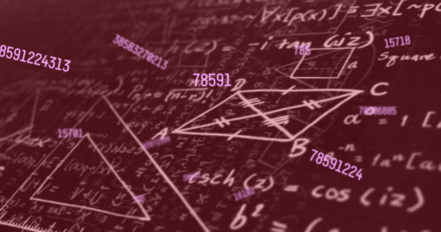 Multiple changing numbers floating against mathematical equations and diagrams on red background. school and education concept | Shutterstock HD Video #1066053853