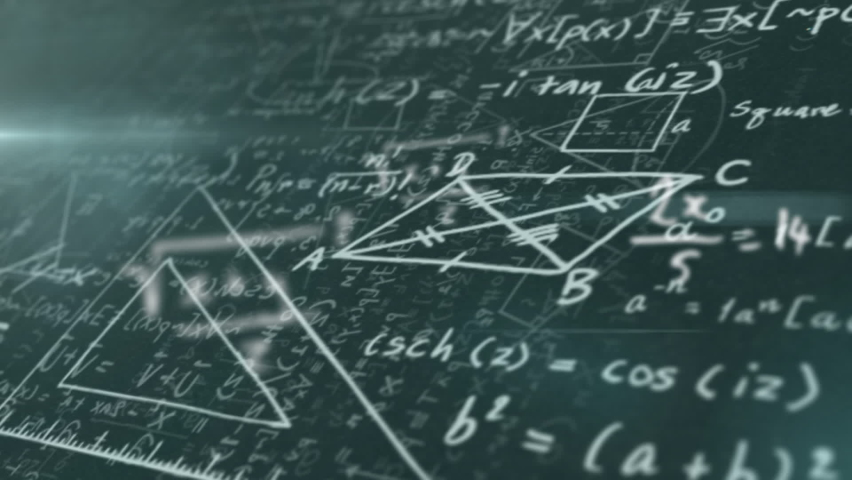 Digital animation of mathematical equations and diagrams floating against black background. school and education concept | Shutterstock HD Video #1066053859