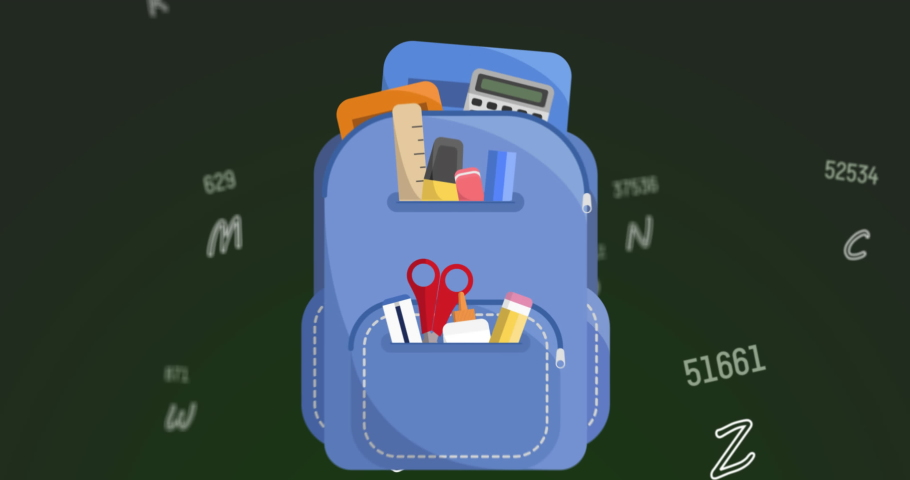 School bag icons against multiple changing numbers and alphabets on green background. school and education concept | Shutterstock HD Video #1066054159