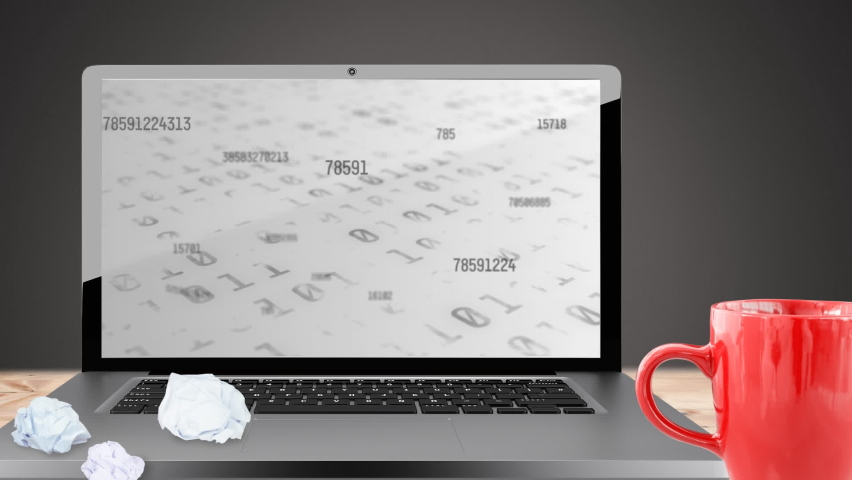 Digital animation of binary coding data processing on laptop screen against grey background. computer interface technology and online security concept. | Shutterstock HD Video #1066054201