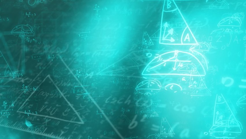 Digital animation of spots of light and mathematical equations against black background. school and education concept | Shutterstock HD Video #1066054396
