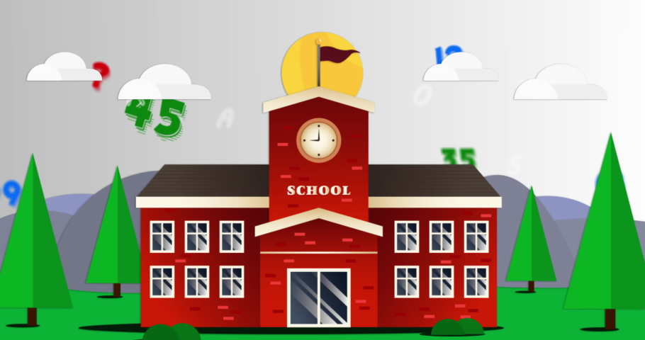 Digital animation of multiple changing numbers and alphabets against school landscape icon. school and education background | Shutterstock HD Video #1066054711
