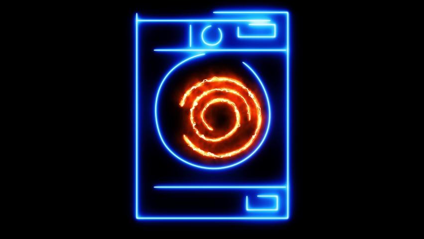Washing concept. Animated neon washing machine on a dark background. Animated washing machine. Looped animation. Washing.Nonstop. | Shutterstock HD Video #1066070701