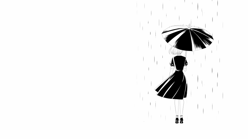 Lonely bob hair girl standing alone with umbrella in the rain. black and white cartoon anime style. | Shutterstock HD Video #1066070734