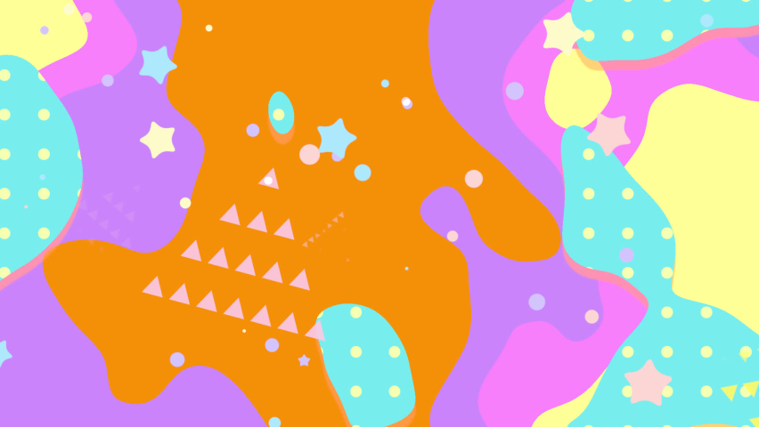 Looped 2d flat design motion graphics of abstract geometric pattern background. Orange and teal dots flowing shapes, stars, and triangles. | Shutterstock HD Video #1066071037