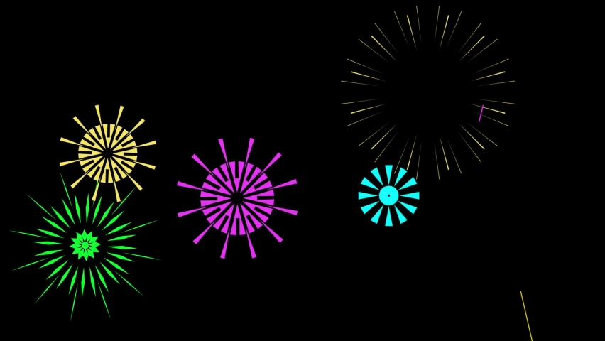 Colorful fireworks animation. Celebration firework, Christmas or Mardi gras or brazil carnival pyrotechnics for party festival celebration or anniversary firecracker background video. | Shutterstock HD Video #1066072303