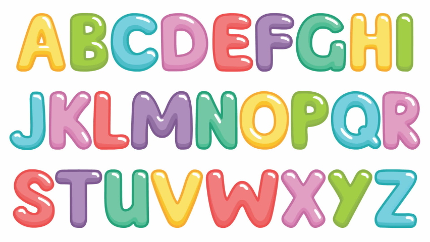 Animated fаunny children font with color letters. Video of colorful alphabet on a white background. Bright vector illustration. | Shutterstock HD Video #1066074547