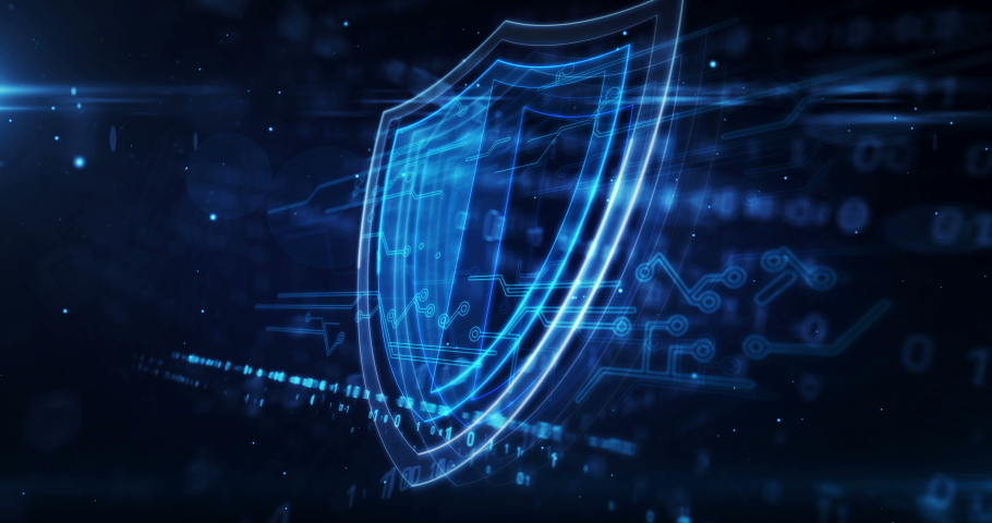 Cyber security concept with shield symbol, privacy and computer protection icon loop animation. Futuristic abstract background 3d rendering. | Shutterstock HD Video #1066075615